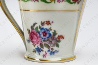 Coffee set in Limoges china by Haviland et Parlon decorated with friezes and bouquets of polychromes flowers photo-5