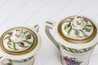 Coffee set in Limoges china by Haviland et Parlon decorated with friezes and bouquets of polychromes flowers photo-7
