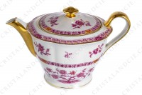 Tea pot in Limoges china by Haviland pattern Arbre pourpre shape Lutece decorated with a purple and yellow flowered tree in the middle, with vegetables friezes and with a gold border photo-2