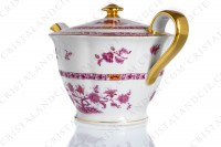 Tea pot in Limoges china by Haviland pattern Arbre pourpre shape Lutece decorated with a purple and yellow flowered tree in the middle, with vegetables friezes and with a gold border photo-4