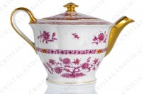 Tea pot in Limoges china by Haviland pattern Arbre pourpre shape Lutece decorated with a purple and yellow flowered tree in the middle, with vegetables friezes and with a gold border photo-5