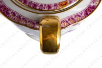 Tea pot in Limoges china by Haviland pattern Arbre pourpre shape Lutece decorated with a purple and yellow flowered tree in the middle, with vegetables friezes and with a gold border photo-7