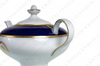 Tea pot in Limoges china by Bernardaud pattern Sparte cobalt blue decorated with a cobalt blue stripe and gold borders and flowers photo-3