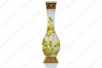 Vase Art Nouveau in crystal by Baccarat Japanese shape pattern with Leontodon with an engraved with the acid background and a hand enameled and polychrome pattern of leontodon photo-2