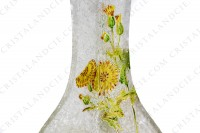 Vase Art Nouveau in crystal by Baccarat Japanese shape pattern with Leontodon with an engraved with the acid background and a hand enameled and polychrome pattern of leontodon photo-12