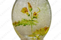 Vase Art Nouveau in crystal by Baccarat Japanese shape pattern with Leontodon with an engraved with the acid background and a hand enameled and polychrome pattern of leontodon photo-15