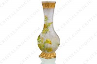Vase Art Nouveau in crystal by Baccarat Japanese shape pattern with Leontodon with an engraved with the acid background and a hand enameled and polychrome pattern of leontodon photo-3