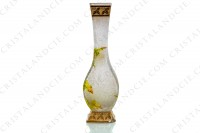 Vase Art Nouveau in crystal by Baccarat Japanese shape pattern with Leontodon with an engraved with the acid background and a hand enameled and polychrome pattern of leontodon photo-4