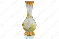 Vase Art Nouveau in crystal by Baccarat Japanese shape pattern with Leontodon with an engraved with the acid background and a hand enameled and polychrome pattern of leontodon photo-5
