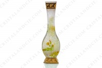 Vase Art Nouveau in crystal by Baccarat Japanese shape pattern with Leontodon with an engraved with the acid background and a hand enameled and polychrome pattern of leontodon photo-6