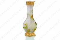 Vase Art Nouveau in crystal by Baccarat Japanese shape pattern with Leontodon with an engraved with the acid background and a hand enameled and polychrome pattern of leontodon photo-7
