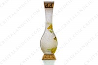 Vase Art Nouveau in crystal by Baccarat Japanese shape pattern with Leontodon with an engraved with the acid background and a hand enameled and polychrome pattern of leontodon photo-8