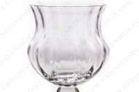 Vase in crystal by Daum pattern Cluny with a belly decorated with venitian cuts and a hollow stem photo-3