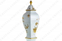 Covered vase in Limoges china with a gold Japanese pattern photo-2
