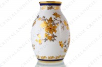 Vase in china of Limoges decorated with gold and silver flowers photo-2