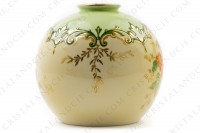 Vase in Limoges china by the Société limousine de porcelaine, hand painted by Faury, decorated with red flowers gold enhanced on a beige and green background photo-2