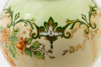Vase in Limoges china by the Société limousine de porcelaine, hand painted by Faury, decorated with red flowers gold enhanced on a beige and green background photo-4