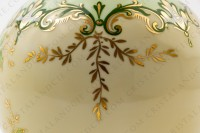 Vase in Limoges china by the Société limousine de porcelaine, hand painted by Faury, decorated with red flowers gold enhanced on a beige and green background photo-7