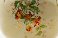 Vase in Limoges china by the Société limousine de porcelaine, hand painted by Faury, decorated with red flowers gold enhanced on a beige and green background photo-8