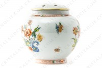 Vase in Limoges china by Haviland pattern Cathay decorated with polychromes flowers photo-2