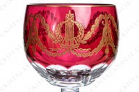 Exceptional memorial glass of the Bicentenary of the French Revolution in crystal by Saint-Louis which the gob is in red double layer crystal decorated with flat cut and with an important pattern in gold inlays of guirlands of laurels and oak leaves, crawns of laurels and Louis the 16th nodes photo-3