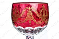 Exceptional memorial glass of the Bicentenary of the French Revolution in crystal by Saint-Louis which the gob is in red double layer crystal decorated with flat cut and with an important pattern in gold inlays of guirlands of laurels and oak leaves, crawns of laurels and Louis the 16th nodes photo-4