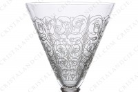Watergoblet n°2 in crystal by Saint-Louis pattern Lisieux with an engraved pattern of vegetal arabesques photo-3