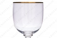 Watergoblet n°2 in crystal by Baccarat pattern Mahora decorated with gold borders photo-2
