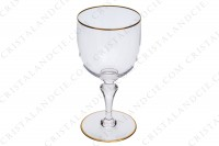 Watergoblet n°2 in crystal by Baccarat pattern Mahora decorated with gold borders photo-3