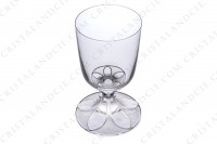 Watergoblet n°2 in crystal by Lalique pattern Valençay decorated with two flowers in clear crystal on a frosted background on the stem and the foot photo-2