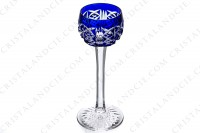 Cordial glass in dark blue double-layer crystal by Saint-Louis pattern Riesling with an important cut pattern photo-2