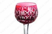 Cordial glass in red double-layer crystal by Saint-Louis pattern Riesling with an important cut pattern photo-2