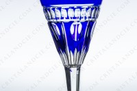 Sherry glass n°5 in blue double layer crystal by Saint-Louis pattern Nelly with a cut pattern photo-3