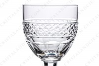 Six Sherry glass n°5 in crystal by Saint-Louis pattern Trianon with the parison is decorated with a Diamond tips frieze, stem with a ring photo-3