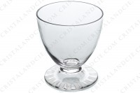 Wine glass n°4 in crystal by Daum pattern Briançon with a cut and frosted Art Deco pattern on the foot photo-2