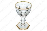 Wine glass n°4 in crystal by Baccarat pattern Ems shape of the pattern Harcourt decorated with flat cut, with a ring on the stem and with an hexagonal foot and decorated with gold borders photo-2