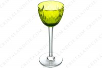 Rhine wine glass, hock in yellow crystal by Baccarat pattern Corneille decorated with cut bevels on the gob and with flat cut on the stem photo-2