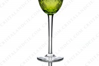 Rhine wine glass, hock in yellow crystal by Baccarat pattern Corneille decorated with cut bevels on the gob and with flat cut on the stem photo-4
