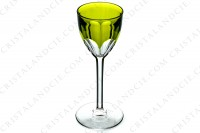 Rhine wine glass hock in moss green double layer crystal by Baccarat pattern Genova decorated with flat cut photo-2