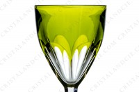 Rhine wine glass hock in moss green double layer crystal by Baccarat pattern Genova decorated with flat cut photo-3