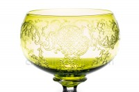 Rhine wine glass hock in yellow crystal by Saint-Louis pattern Mikado with a cut hollow stem, and with the parison is engraved with the pattern 899 photo-2