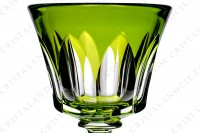 Rhine wine glass hock in yellow double layer crystal by Baccarat pattern Polignac decorated with cut bevels on the gob and with a cut stem photo-3