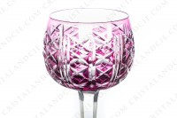 Rhine wine glass hock in purple double-layer crystal by Saint-Louis pattern Riesling with an important cut pattern photo-2