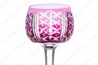 Rhine wine glass hock in purple double-layer crystal by Saint-Louis pattern Riesling with an important cut pattern photo-3