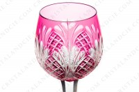 Rhine wine glass hock in pink double layer crystal by Baccarat shape 9157 cut 9247 with an important cut pattern and a star with flames under the foot photo-2
