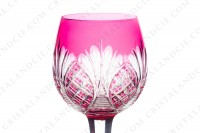 Rhine wine glass hock in pink double layer crystal by Baccarat shape 9157 cut 9247 with an important cut pattern and a star with flames under the foot photo-3