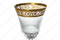 Wine glass n°3 in crystal by Saint-Louis pattern Thistle with an important cut and engraved pattern with gold inlays photo-2