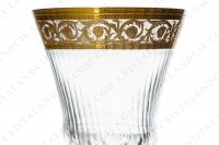 Wine glass n°3 in crystal by Saint-Louis pattern Thistle with an important cut and engraved pattern with gold inlays photo-3