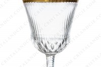 Wine glass n°3 in crystal by Saint-Louis pattern Thistle with an important cut and engraved pattern with gold inlays photo-4